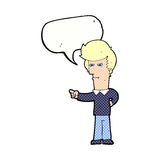Cartoon man pointing with speech bubble Royalty Free Stock Photography