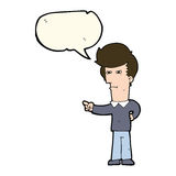 Cartoon man pointing with speech bubble Stock Photography