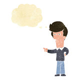 Cartoon man pointing with thought bubble Royalty Free Stock Photography