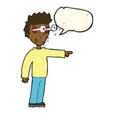 Cartoon man with popping out eyes with speech bubble Stock Photography