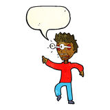 Cartoon man with popping out eyes with speech bubble Royalty Free Stock Photo