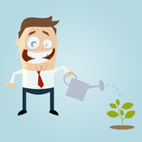 Cartoon man pouring a small plant Royalty Free Stock Photos
