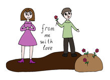 Cartoon man present flowers to woman with text From me with love Royalty Free Stock Photo