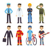 Cartoon man professions Stock Image