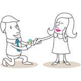 Cartoon man proposing to flattered woman Stock Photos