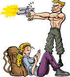 Cartoon man protecting his girlfriend Royalty Free Stock Images