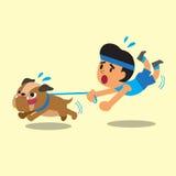 Cartoon man pulled by his bulldog Royalty Free Stock Photography