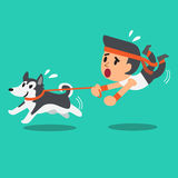 Cartoon man pulled by his siberian husky dog Royalty Free Stock Image