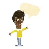 Cartoon man punching with speech bubble Stock Photo