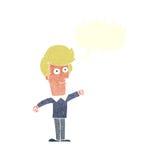 Cartoon man punching with speech bubble Stock Photos