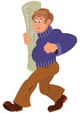 Cartoon man in purple sweater walking smiling with carpet roll Stock Photography