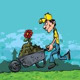Cartoon of man pushing Stock Photos