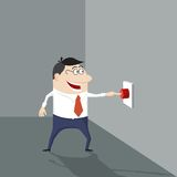 Cartoon man pushing a red button. Stock Image