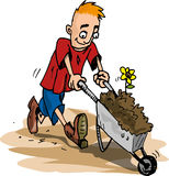 Cartoon of man pushing a wheelbarrow Stock Photos