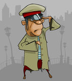Cartoon man in a ragged uniform salutes Royalty Free Stock Photos