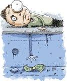 Cartoon Man Reaching for Money Through Hole Royalty Free Stock Photography