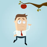 Cartoon man reaching out for an apple royalty free illustration
