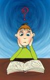 Cartoon man reading book Stock Images