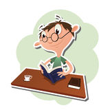 Cartoon man reading a book Royalty Free Stock Photos