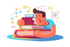 Cartoon man reading many books. Tired student sleeping on book vector illustration. Exhausted boy dozing off and dreams about science and education flat vector illustration