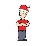 cartoon man ready for christmas Stock Images