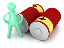 Cartoon man and Red Batteries stock images
