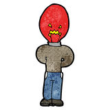 Cartoon man with red light bulb head Royalty Free Stock Photo