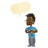 cartoon man refusing to listen with speech bubble Royalty Free Stock Photos