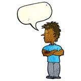 Cartoon man refusing to listen with speech bubble Stock Photos