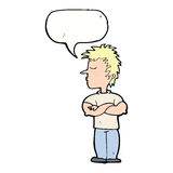 cartoon man refusing to listen with speech bubble Royalty Free Stock Image