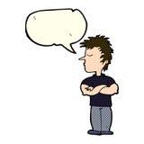 cartoon man refusing to listen with speech bubble Stock Photography