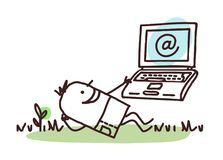 Cartoon Man Relaxing with His Laptop stock illustration