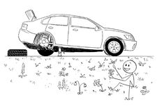 Cartoon of Man Repairing Broken Car and Founding Beauty of Nature in Road Ditch. Cartoon stick man drawing conceptual illustration of man repairing broken car Royalty Free Stock Images