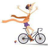 Cartoon man rides a bike and wins the race isolated Royalty Free Stock Image