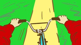 Cartoon man riding a bicycle. Person`s point of view bicycling. A man riding a bicycle. Person`s point of view bicycling. Cartoon color vector sketch Royalty Free Stock Image