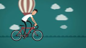 Cartoon man riding a bicycle on the road. stock video