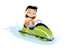 Cartoon man riding a jet boat. Funny cartoon man riding a jet boat vector illustration