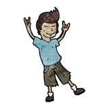 cartoon man rocking out stock illustration