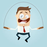Cartoon man is rope jumping Stock Photography