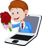 Cartoon Man with rose come out from laptop Royalty Free Stock Photos