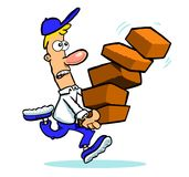 Cartoon Man Running with Boxes. Cartoon man running with stack of falling bricks or boxes Stock Images