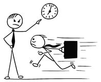 Cartoon of Man Running Late for Work and his Boss Pointing at Wa. Cartoon vector doodle stickman running for work few minutes late and his boss waiting and Royalty Free Stock Photography