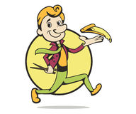 Cartoon man running Stock Photo