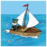 Cartoon of man sailing in a small boat Stock Images