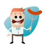 Cartoon man with sausage on a fork Stock Images