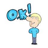 cartoon man saying OK Royalty Free Stock Image