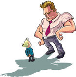 Cartoon man scolding a little boy. Isolated Stock Images