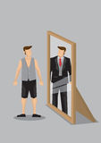 Cartoon Man Sees Himself as Rich Man in Mirror Reflection Vector Stock Images