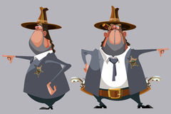 Cartoon man sheriff in a hat stands in front and side Stock Photo