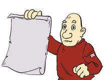 Cartoon man showing parchment Royalty Free Stock Photos